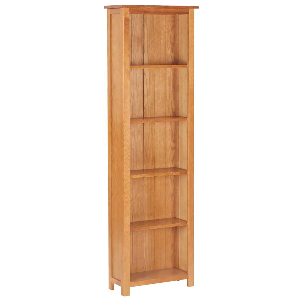 vidaXL Úzka knižnica 52x22,5x170 cm dubový masív a MDF