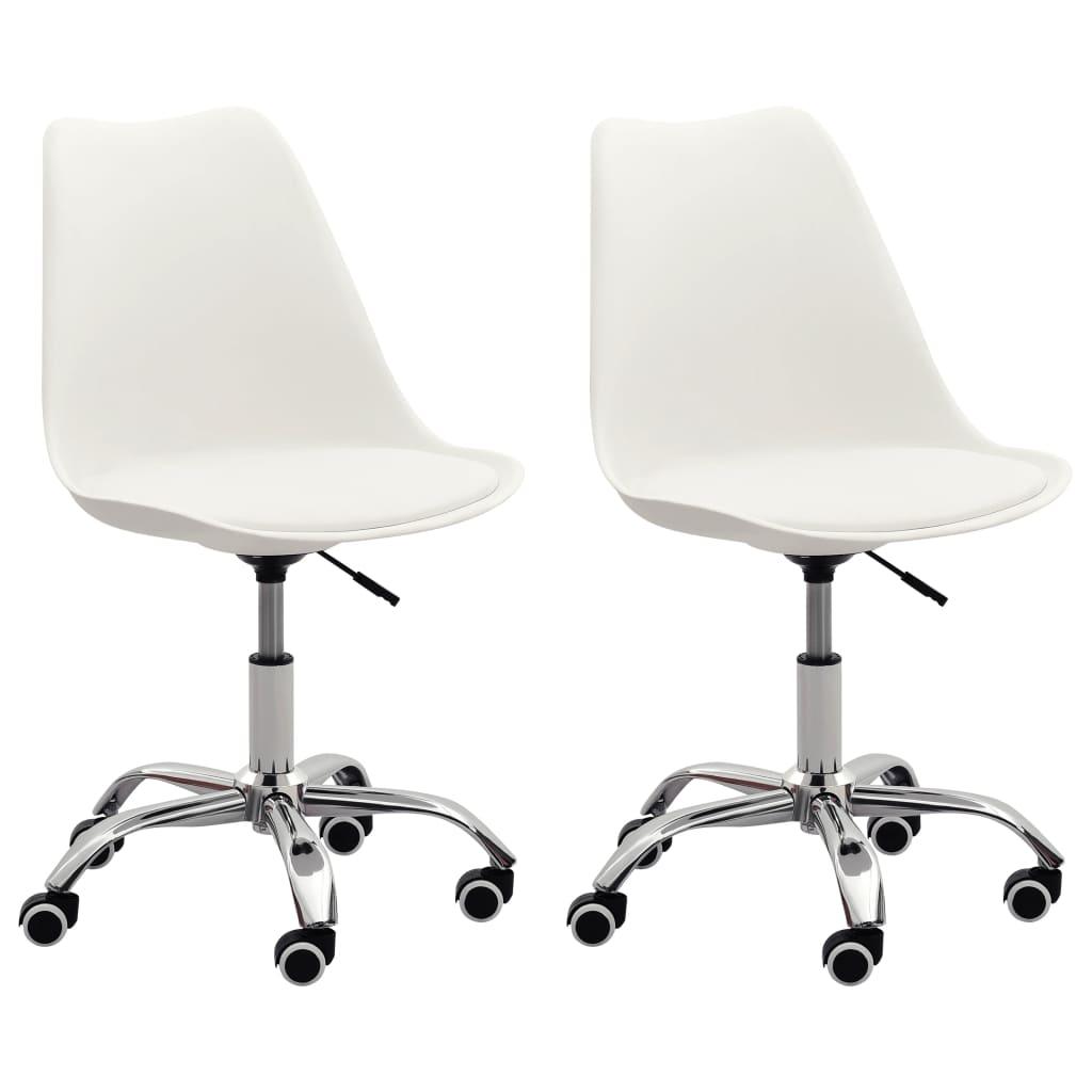 vidaXL Kancelárske stoličky 2 ks biele umelá koža