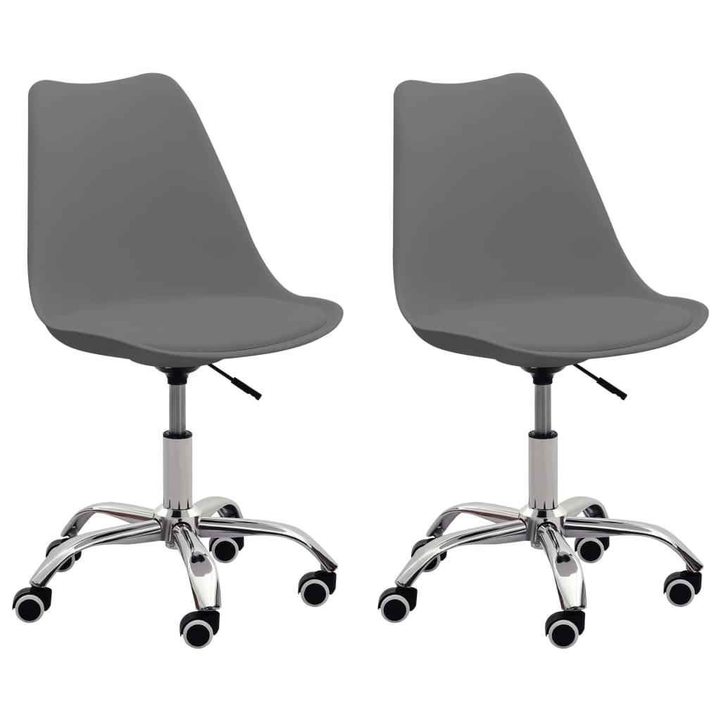 vidaXL Kancelárske stoličky 2 ks sivé umelá koža
