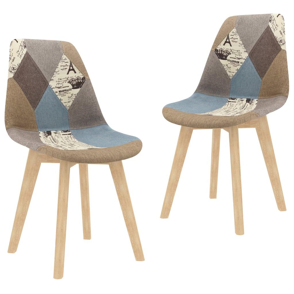 vidaXL Jedálenské stoličky 2 ks dizajn patchwork sivé látkové
