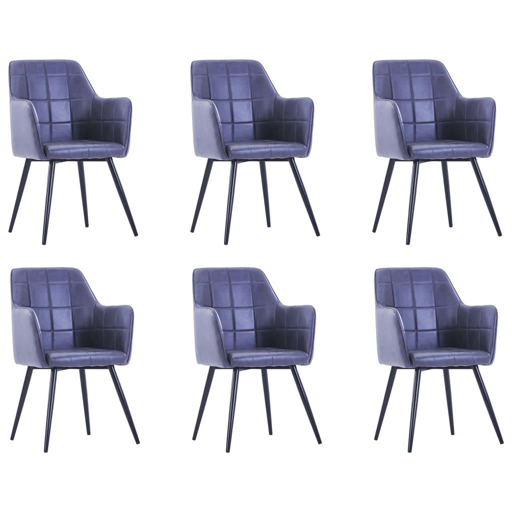 vidaXL Jedálenské stoličky 6 ks, sivé, umelý semiš