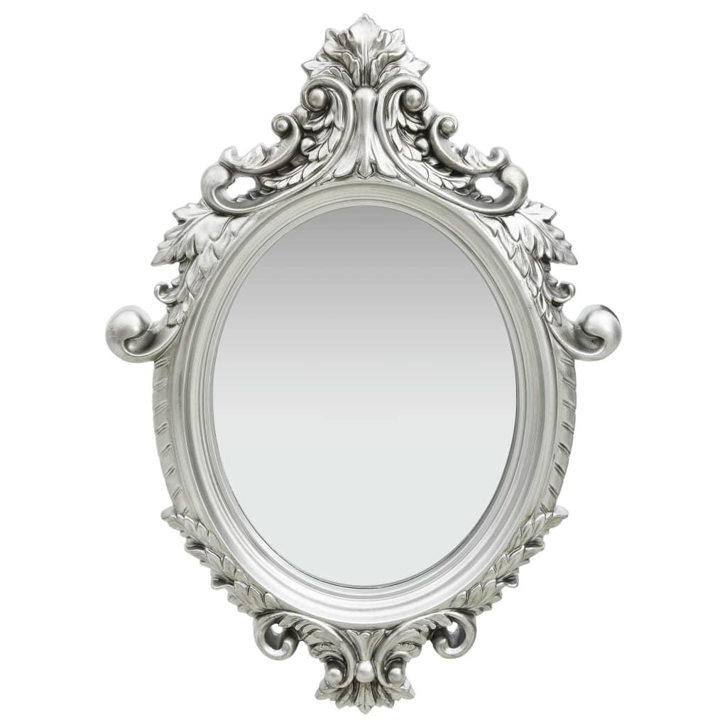 vidaXL Nástenné zrkadlo v zámockom štýle 56x76 cm strieborné