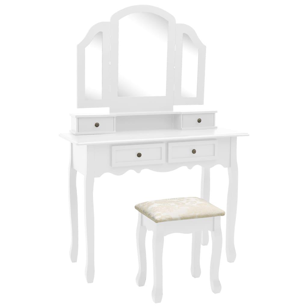vidaXL Toaletný stolík so stoličkou biely 100x40x146 cm drevo paulovnie