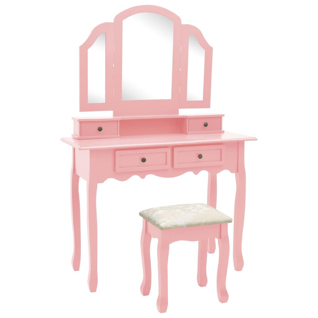 vidaXL Toaletný stolík so stoličkou ružový 100x40x146 cm drevo paulovnie