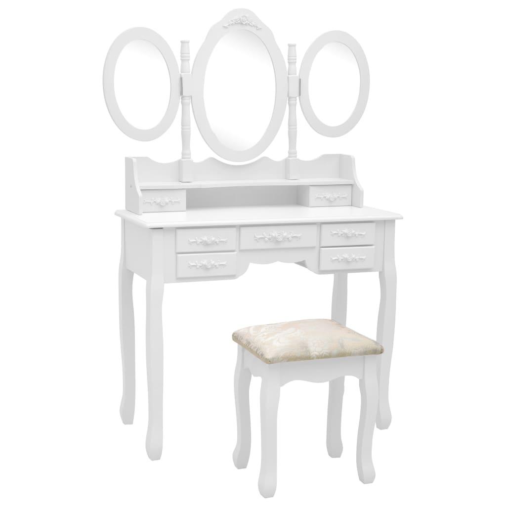 vidaXL Toaletný stolík so stoličkou a 3-dielnym zrkadlom biely