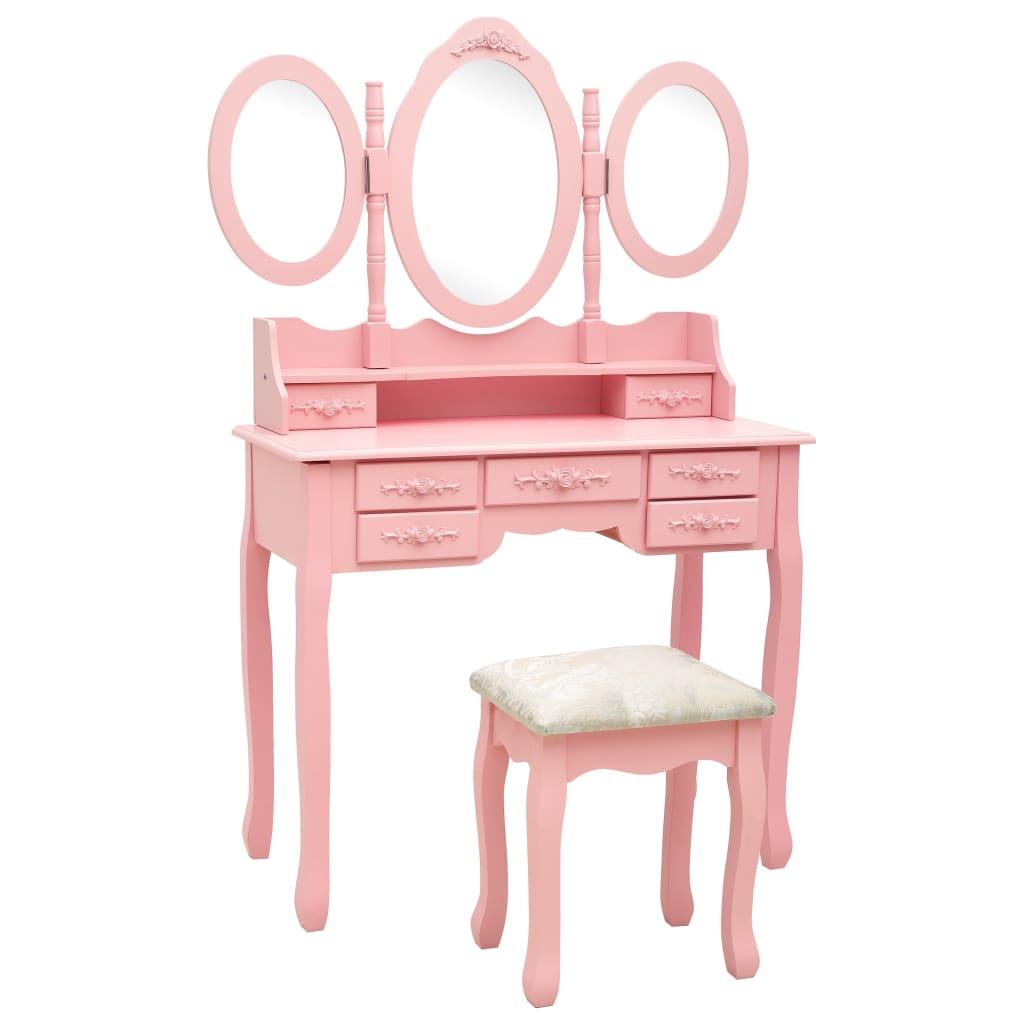 vidaXL Toaletný stolík so stoličkou a 3-dielnym zrkadlom ružový