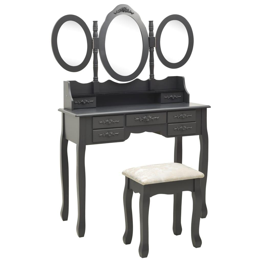 vidaXL Toaletný stolík so stoličkou a 3-dielnym zrkadlom sivý