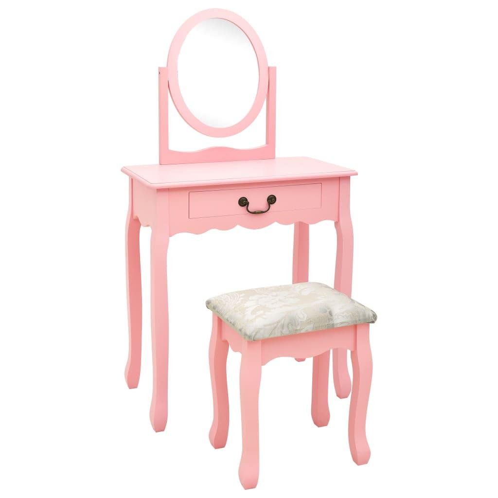 vidaXL Toaletný stolík so stoličkou ružový 65x36x128 cm drevo paulovnie MDF