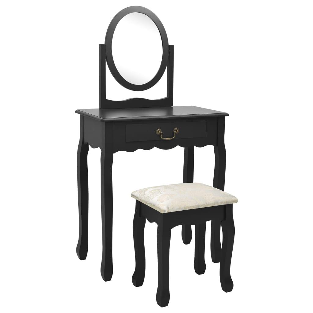 vidaXL Toaletný stolík so stoličkou čierny 65x36x128 cm drevo paulovnie MDF