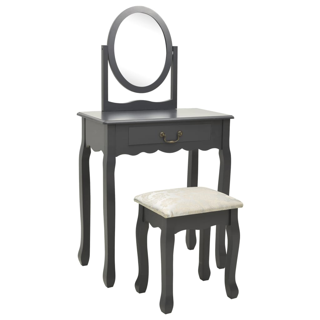 vidaXL Toaletný stolík so stoličkou sivý 65x36x128 cm drevo paulovnie MDF