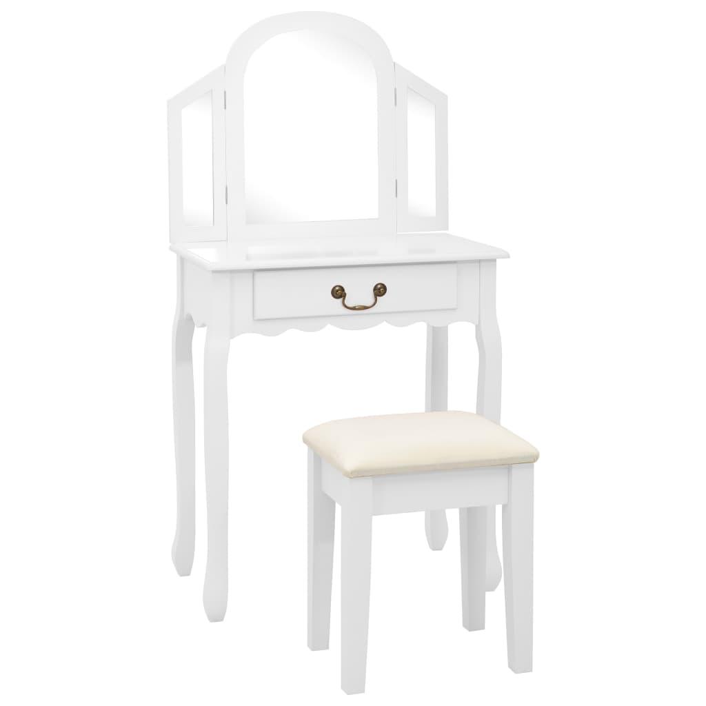 vidaXL Toaletný stolík so stoličkou biely 65x36x128 cm drevo paulovnie MDF