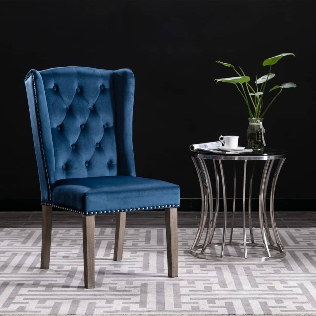 vidaXL Jedálenská stolička modrá zamatová