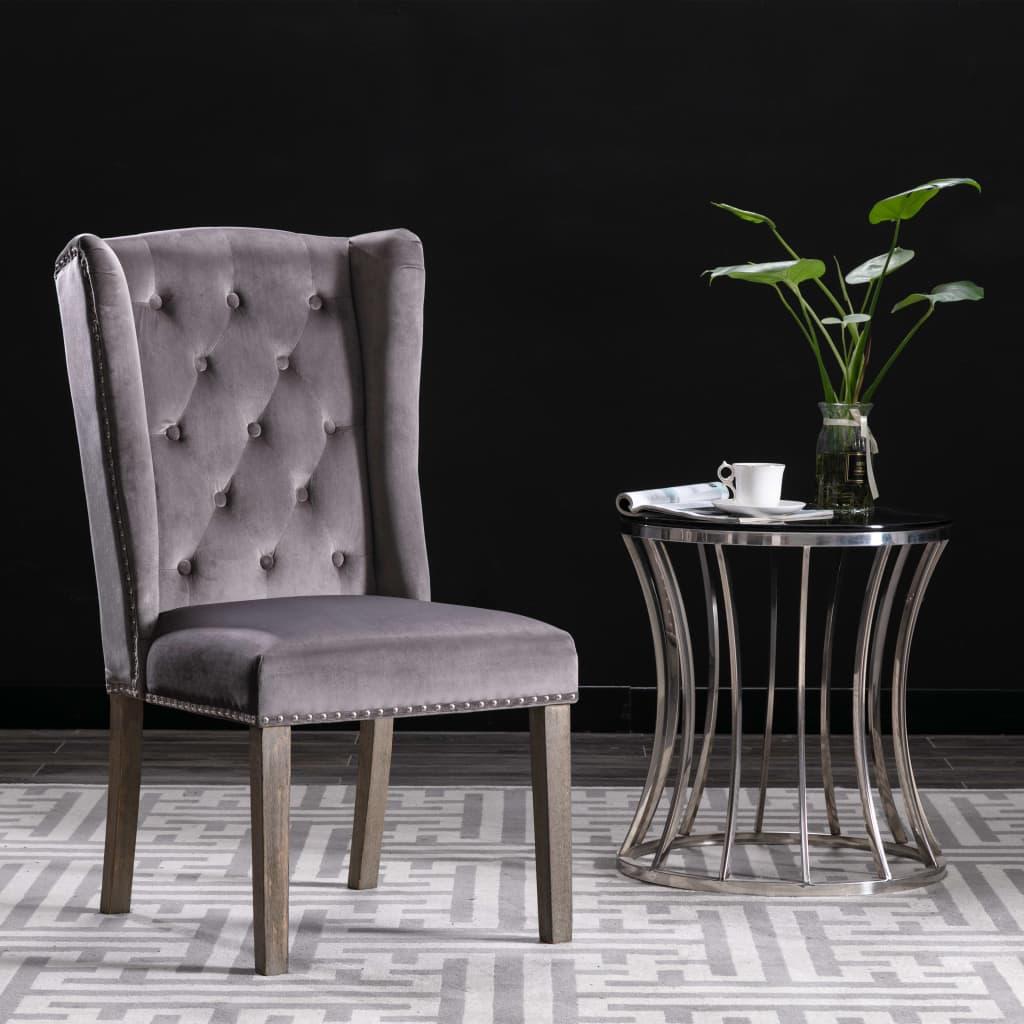 vidaXL Jedálenská stolička sivá zamatová