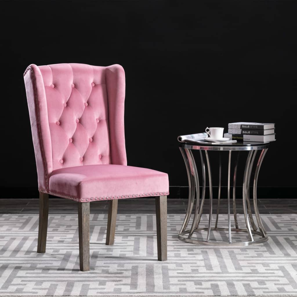 vidaXL Jedálenská stolička ružová zamatová
