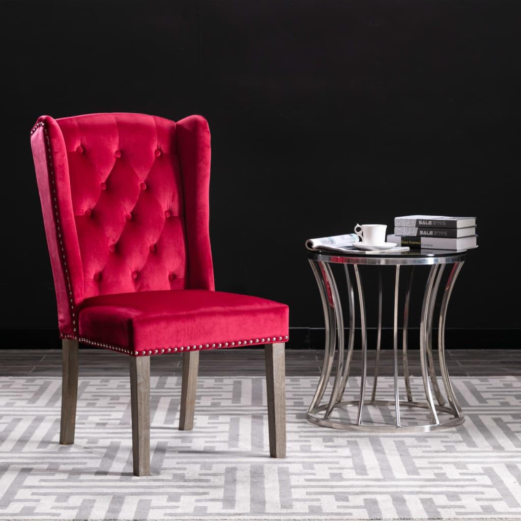 vidaXL Jedálenská stolička vínovo-červená zamatová