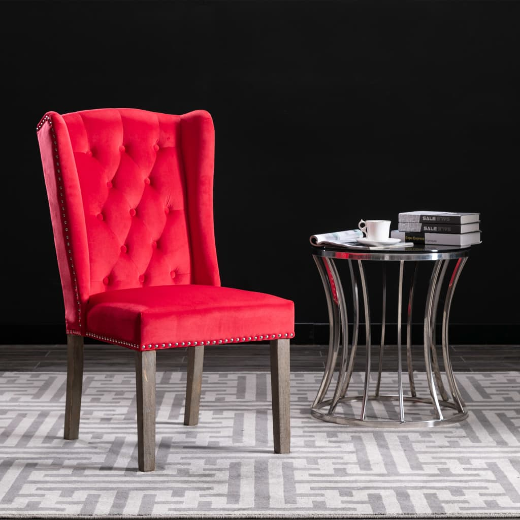 vidaXL Jedálenská stolička červená zamatová
