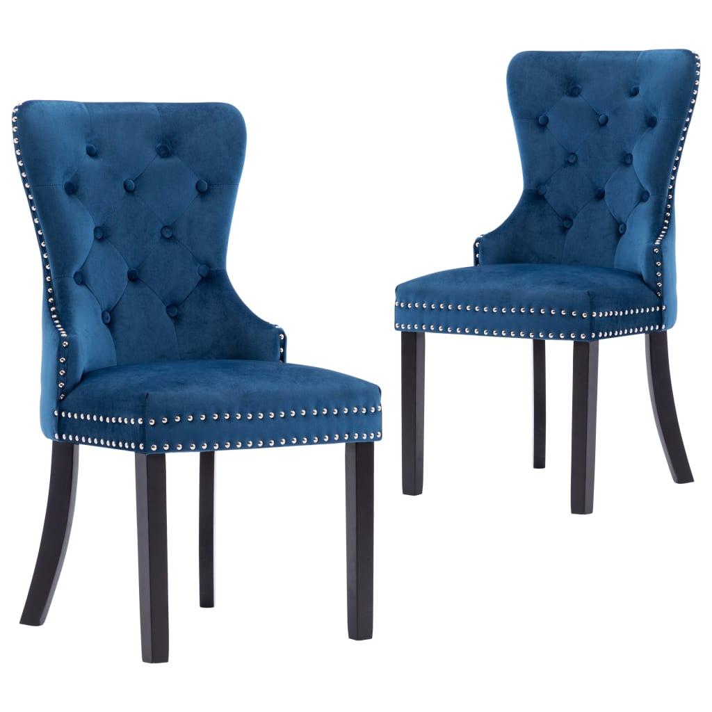 vidaXL Jedálenské stoličky 2 ks modré zamatové