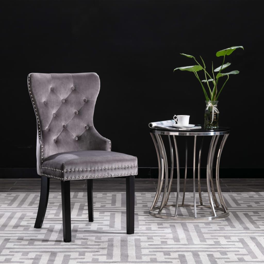vidaXL Jedálenské stoličky 2 ks sivé zamatové