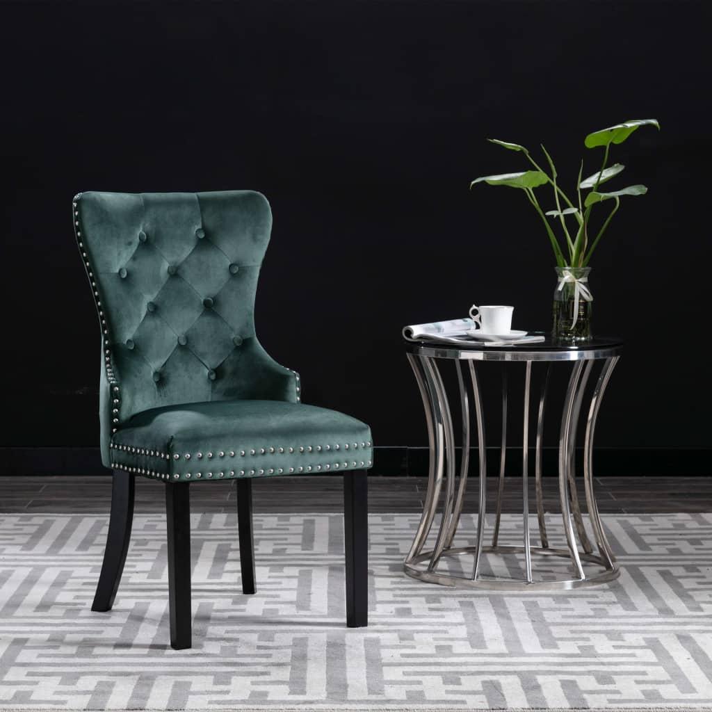 vidaXL Jedálenské stoličky 2 ks tmavo zelené zamatové