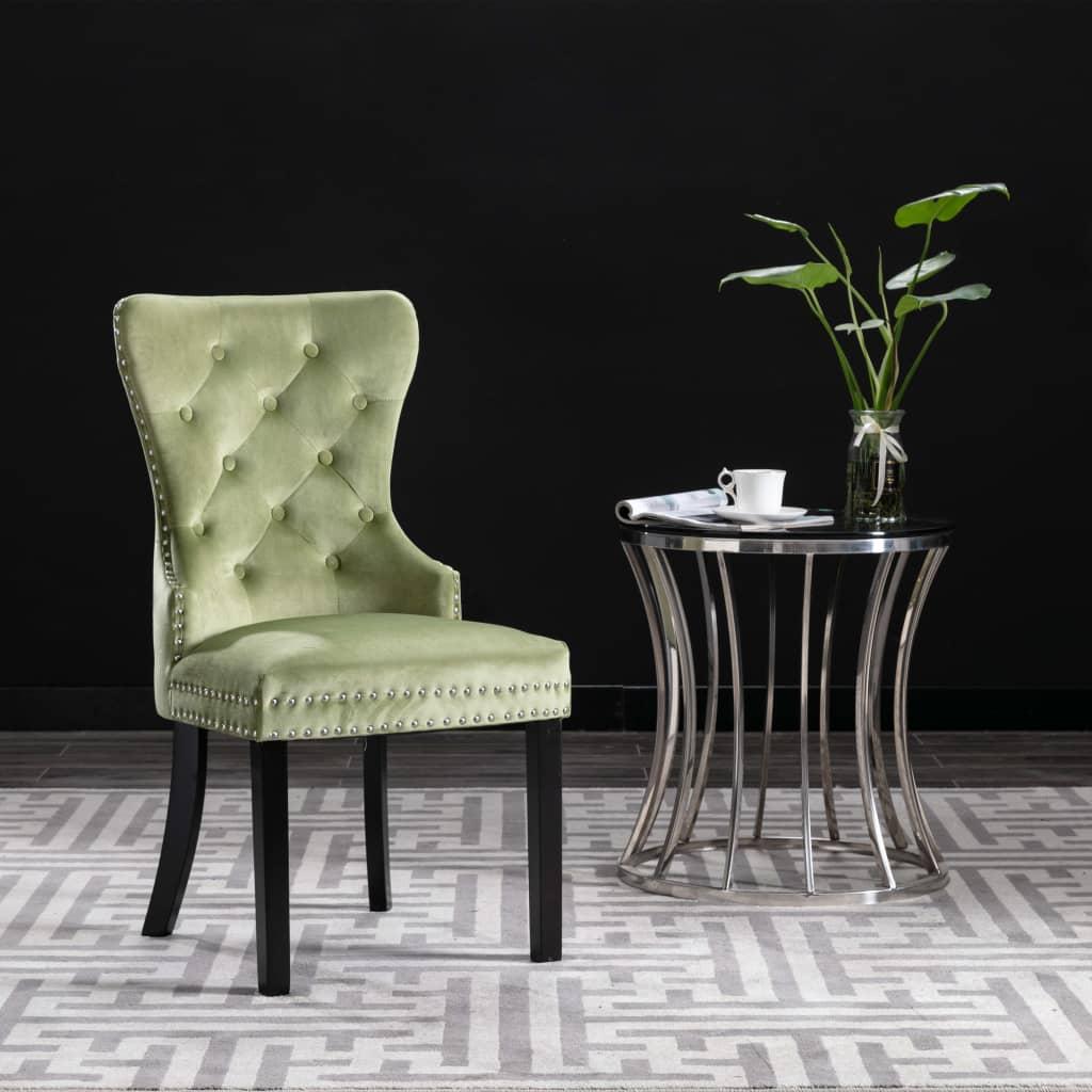 vidaXL Jedálenské stoličky 2 ks svetlo zelené zamatové