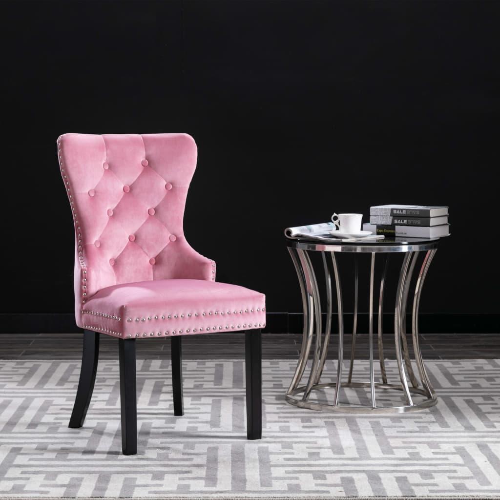 vidaXL Jedálenské stoličky 2 ks ružové zamatové
