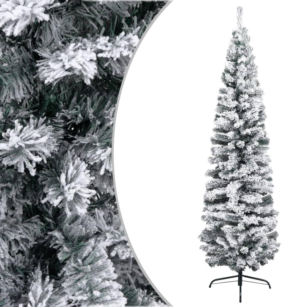 vidaXL Úzky umelý vianočný stromček, zasnežený, zelený 180 cm, PVC