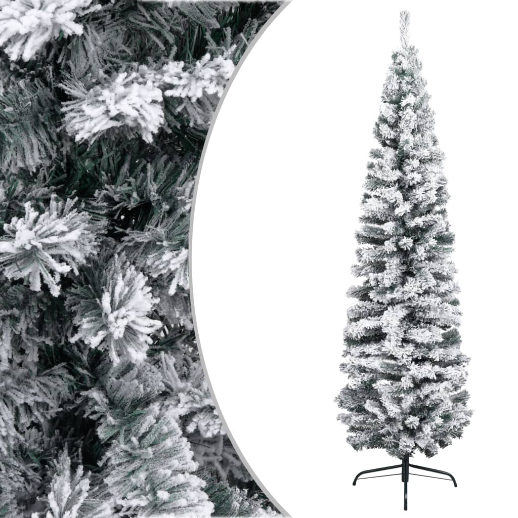 vidaXL Úzky umelý vianočný stromček, zasnežený, zelený 210 cm, PVC