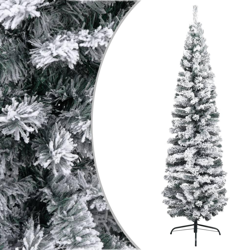 vidaXL Úzky umelý vianočný stromček, zasnežený, zelený 240 cm, PVC