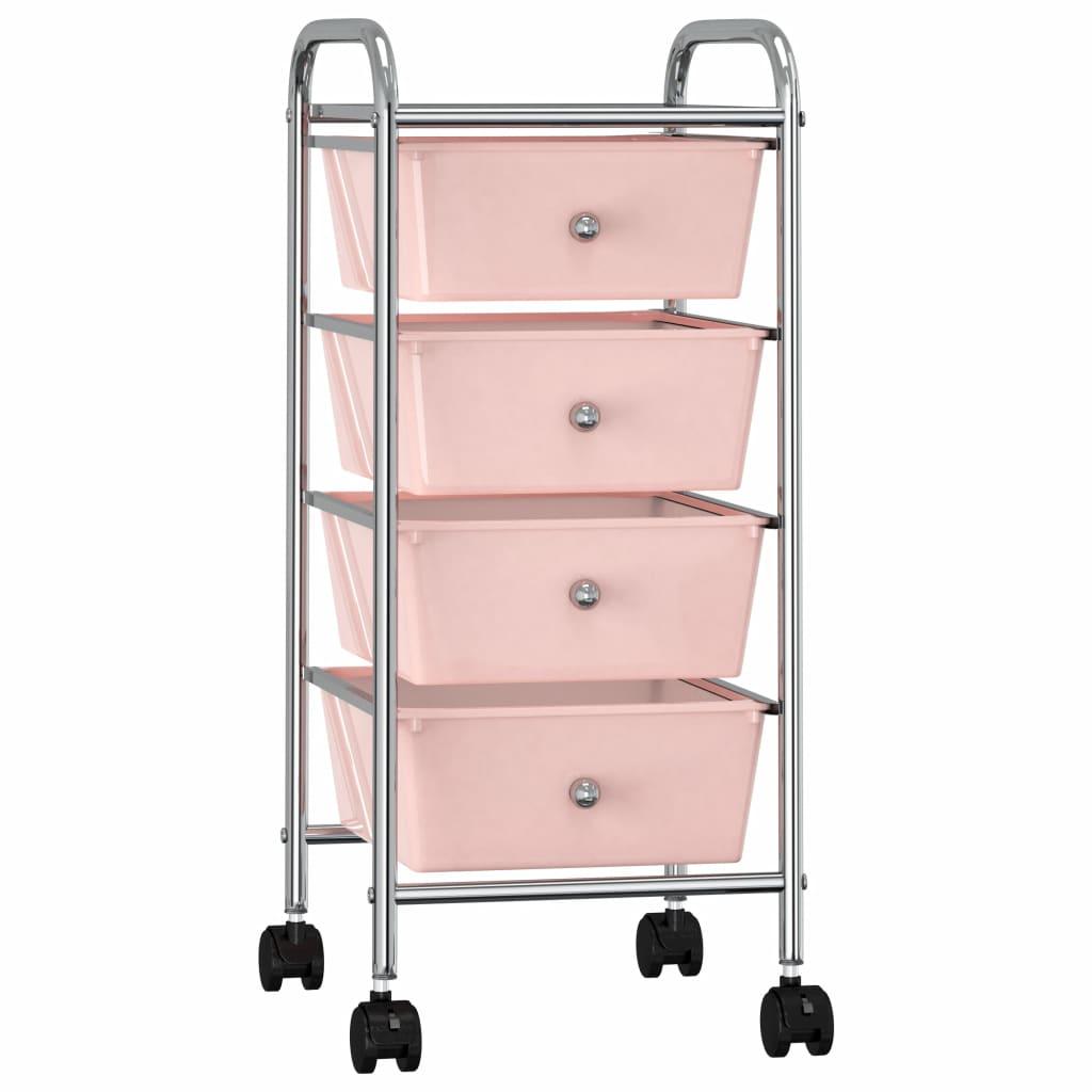 vidaXL Mobilný úložný vozík so 4 zásuvkami ružový plastový