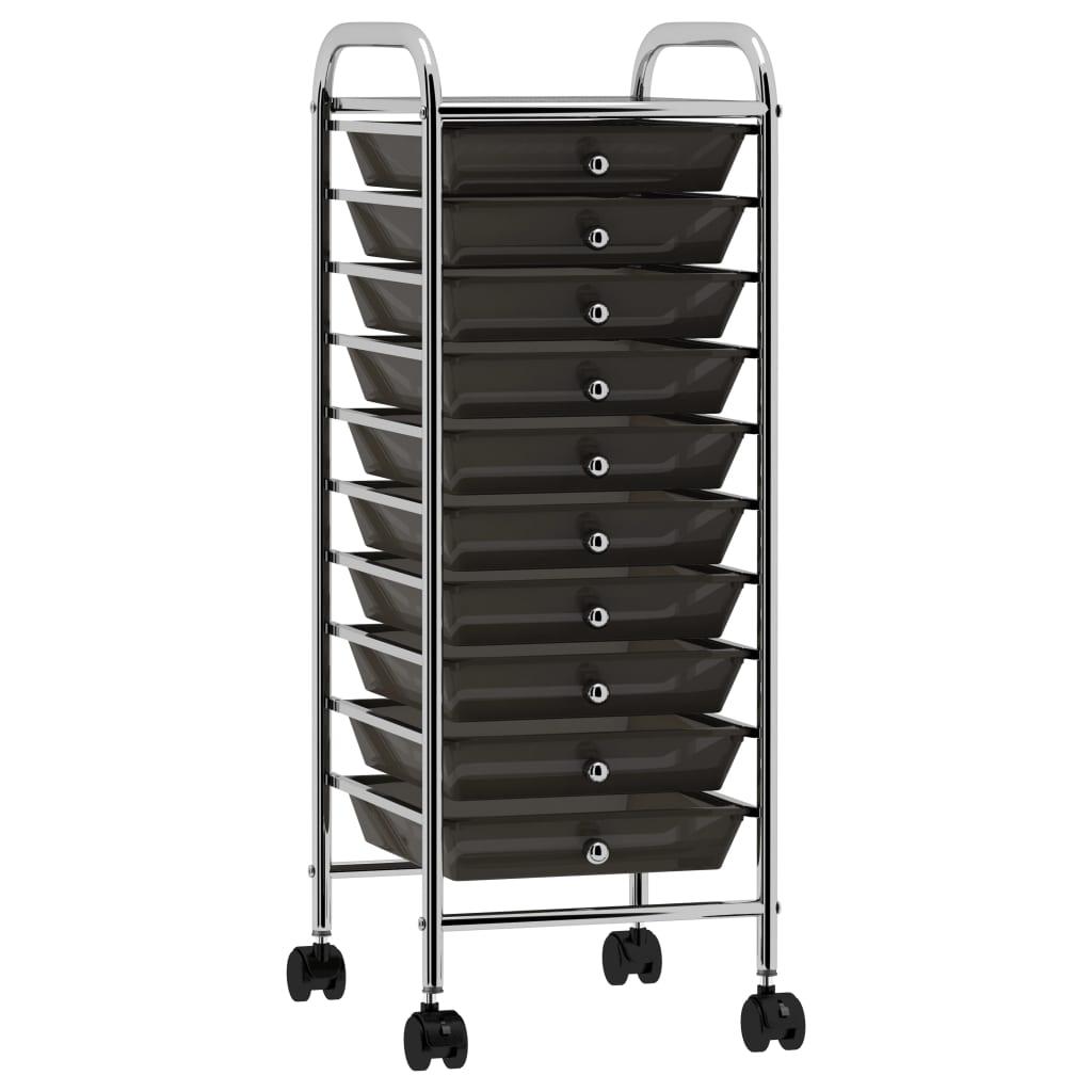 vidaXL Mobilný úložný vozík s 10 zásuvkami čierny plastový