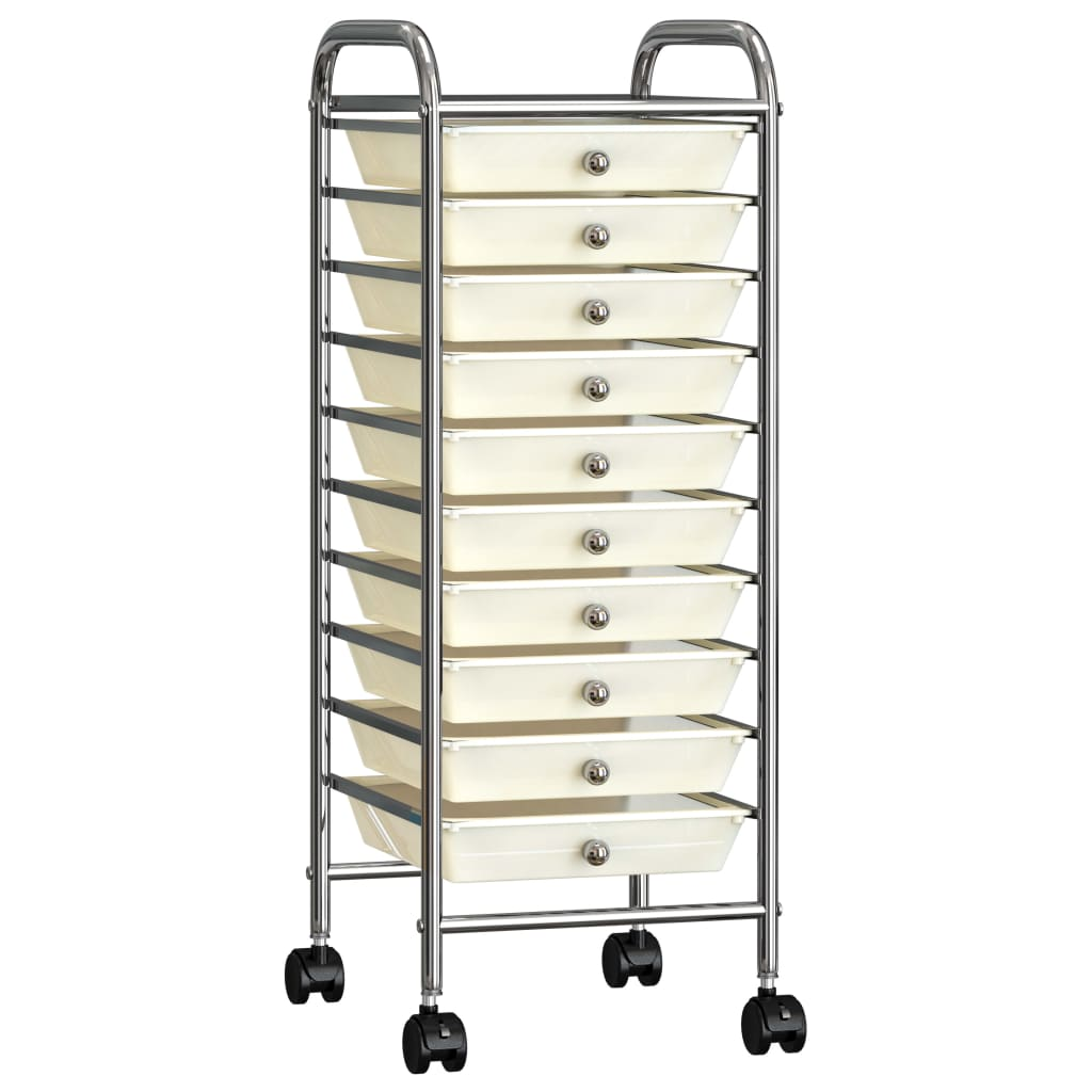 vidaXL Mobilný úložný vozík s 10 zásuvkami biely plastový