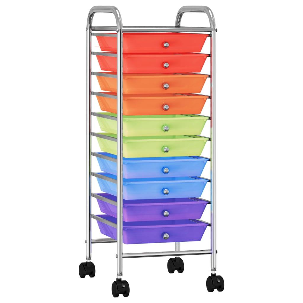 vidaXL Mobilný úložný vozík s 10 zásuvkami viacfarebný plastový