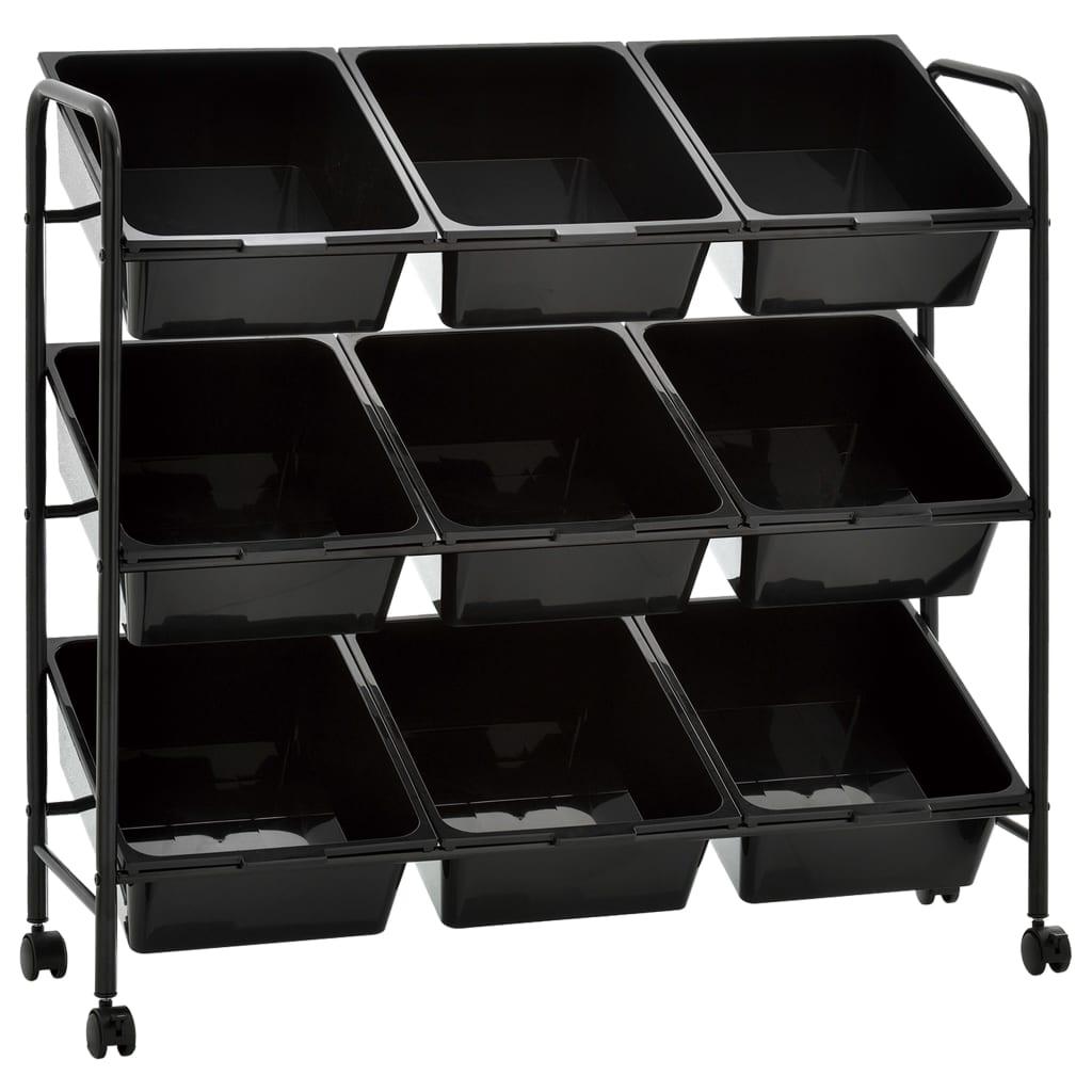 vidaXL Mobilný úložný vozík s 9 zásuvkami čierny plastový