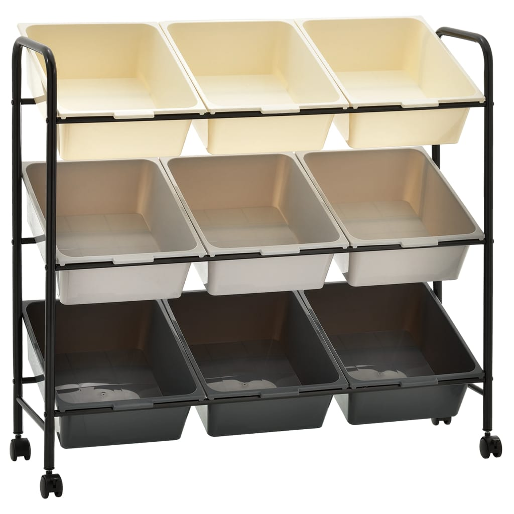vidaXL Mobilný úložný vozík s 9 zásuvkami ombre plastový