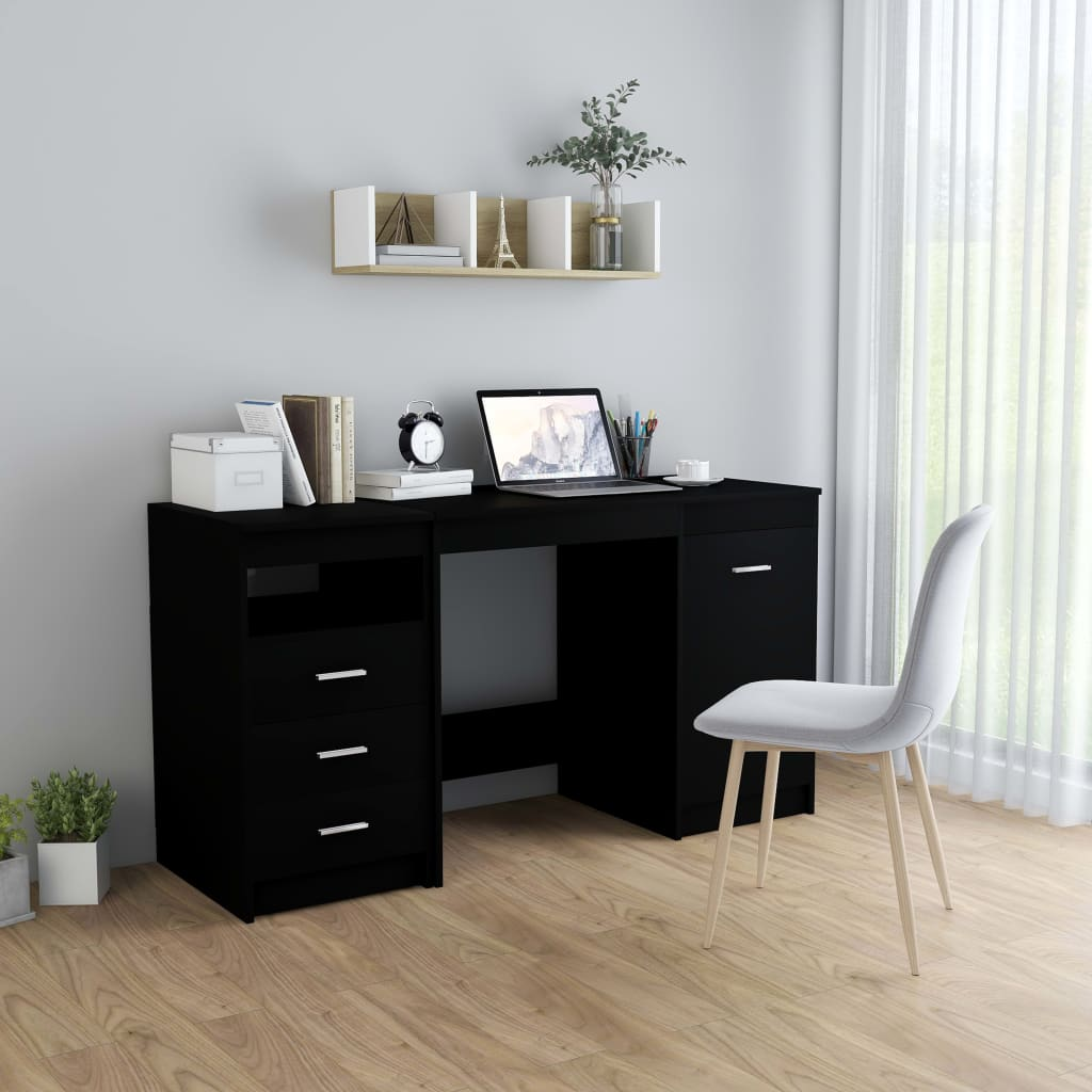 vidaXL Písací stôl čierny 140x50x76 cm drevotrieska