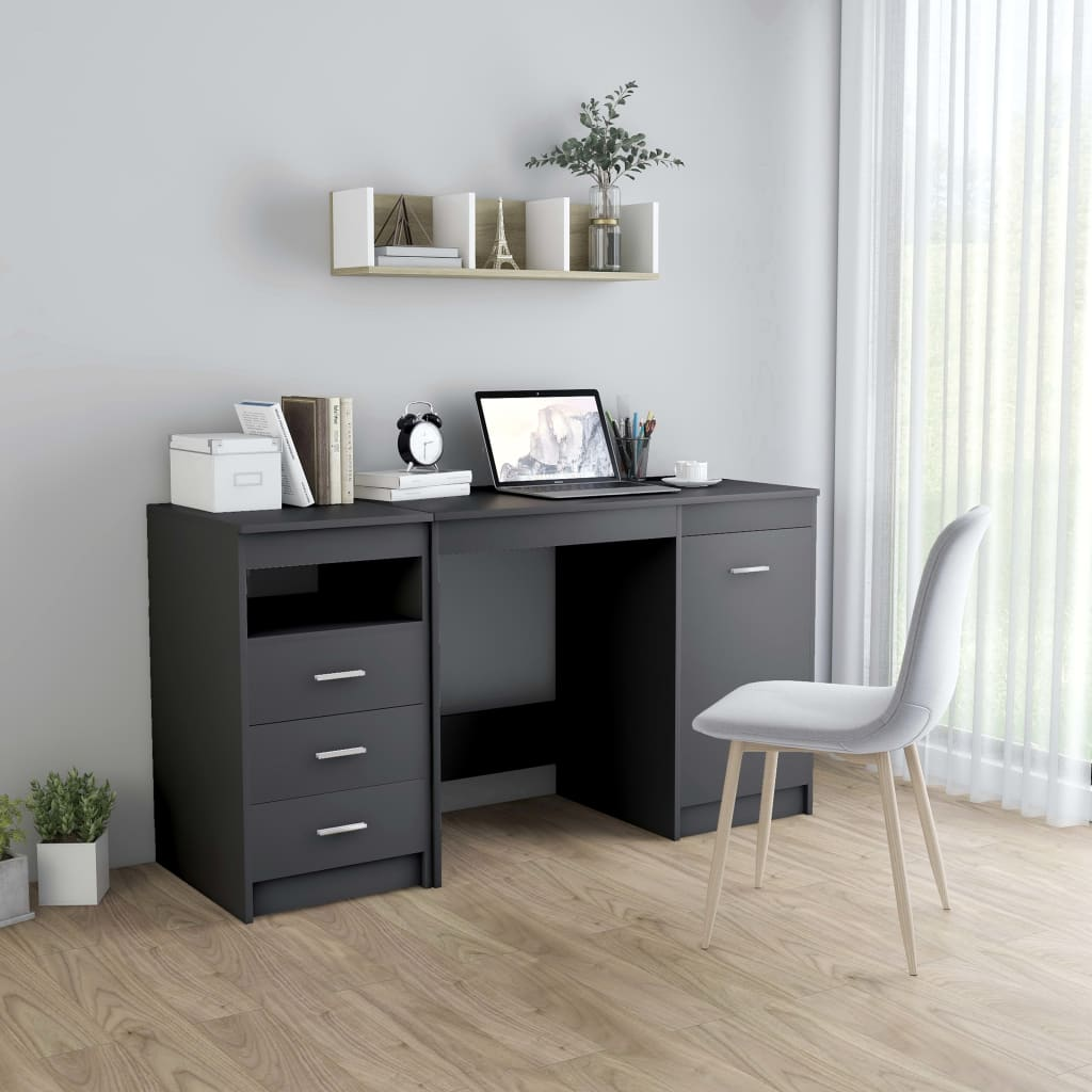vidaXL Písací stôl sivý 140x50x76 cm drevotrieska
