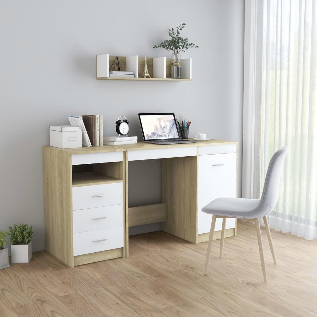 vidaXL Stôl biely a dub sonoma 140x50x76 cm drevotrieska