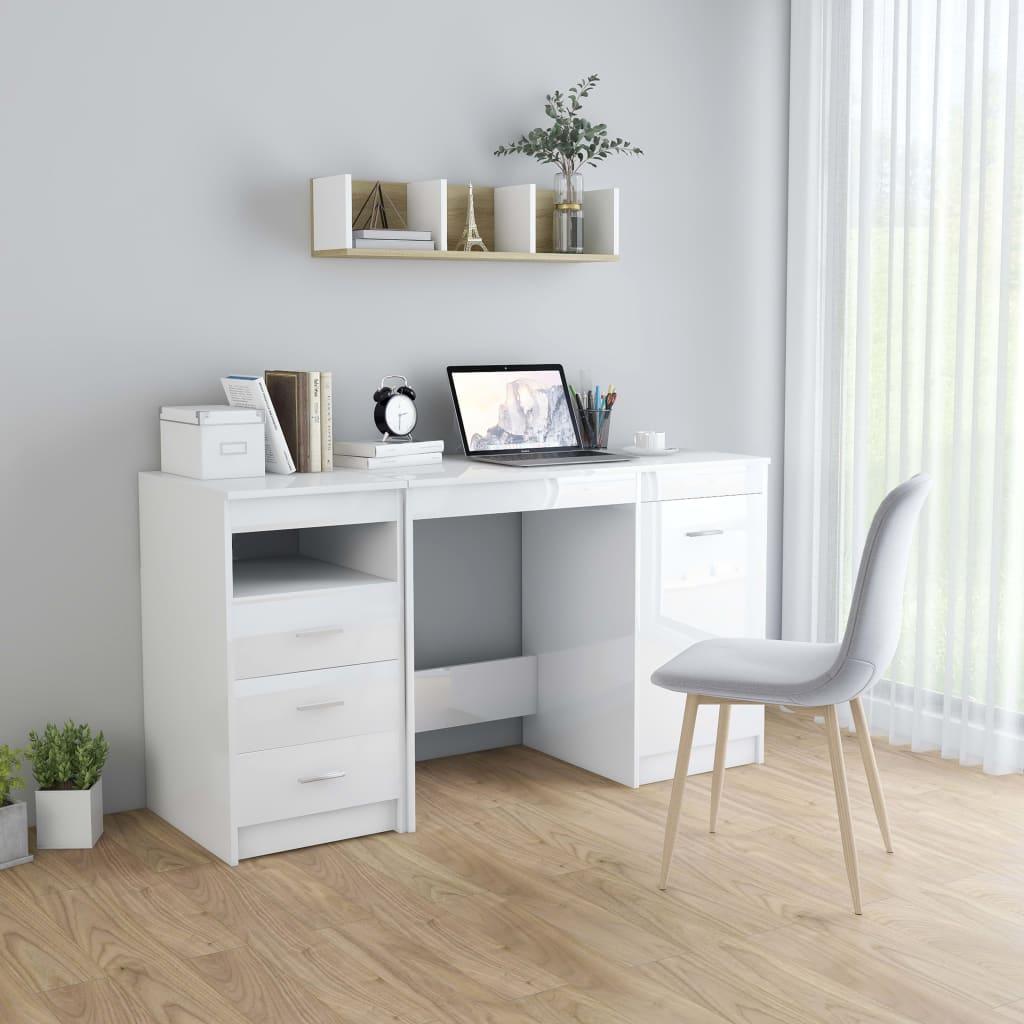 vidaXL Písací stôl lesklý biely 140x50x76 cm drevotrieska