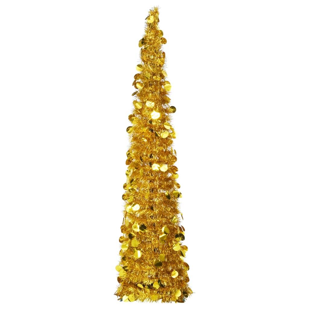 vidaXL Rozkladací umelý vianočný stromček zlatý 150 cm PET