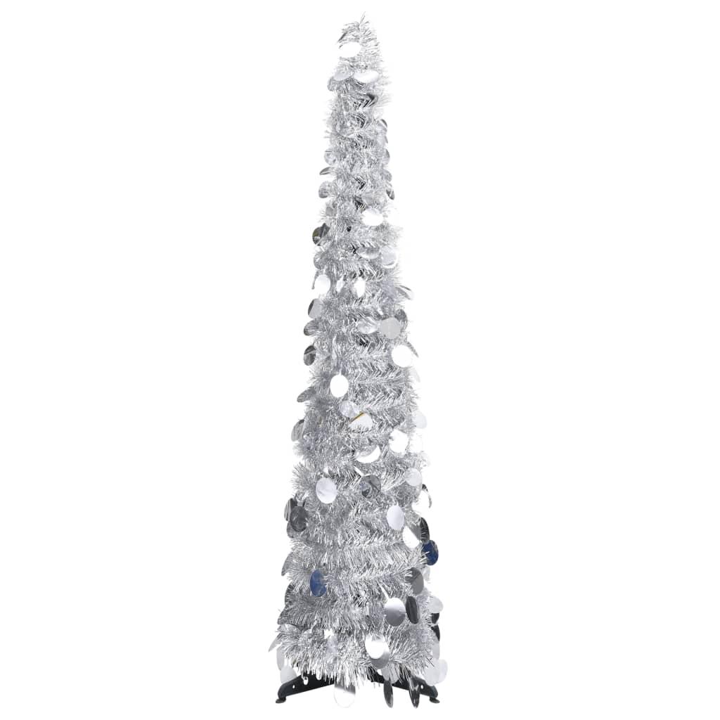 vidaXL Rozkladací umelý vianočný stromček strieborný 120 cm PET