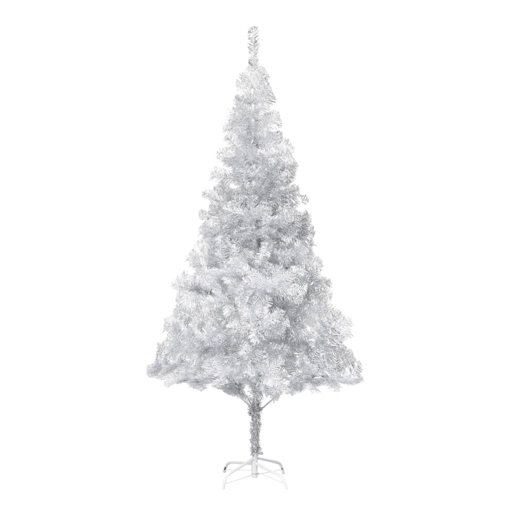 vidaXL Umelý vianočný stromček s podstavcom strieborný 215 cm PET