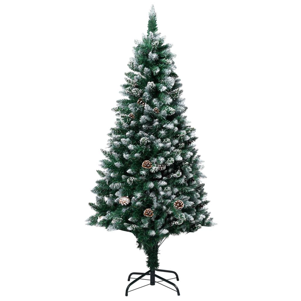 vidaXL Zasnežený umelý vianočný stromček s borovicovými šiškami 150 cm