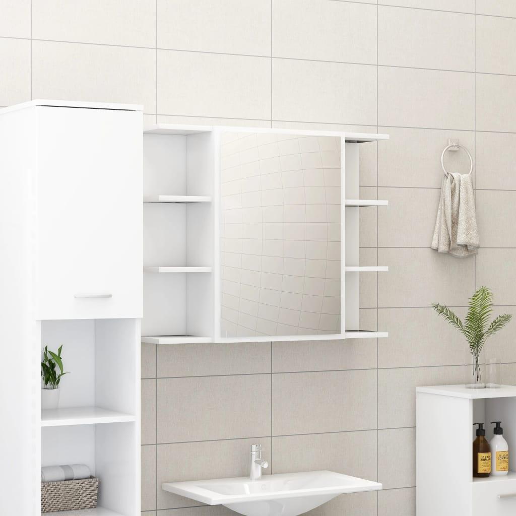 vidaXL Skrinka so zrkadlom, biela 80x20,5x64 cm, drevotrieska