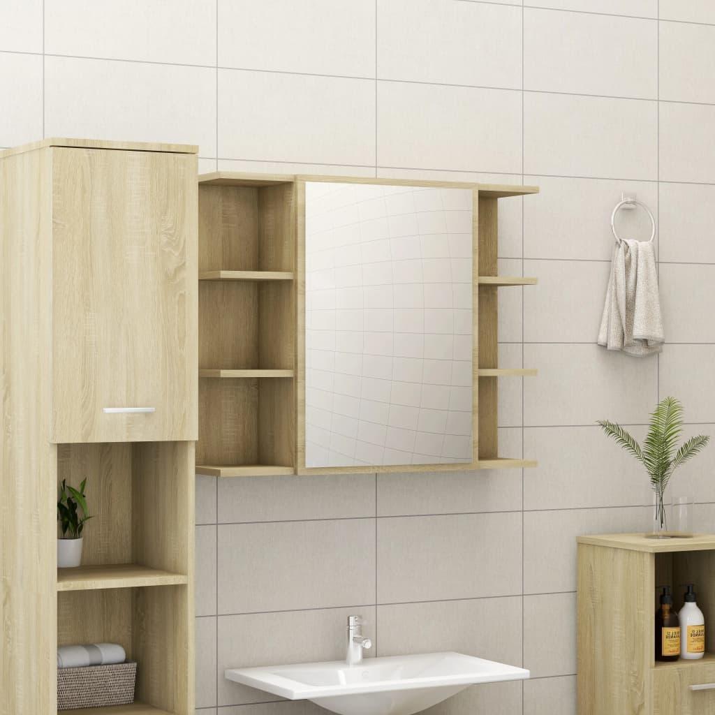 vidaXL Skrinka so zrkadlom, dub sonoma 80x20,5x64 cm, drevotrieska
