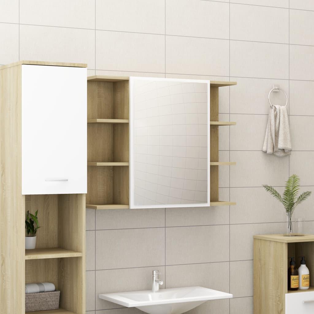 vidaXL Skrinka so zrkadlom, biela a sonoma 80x20,5x64 cm, drevotrieska
