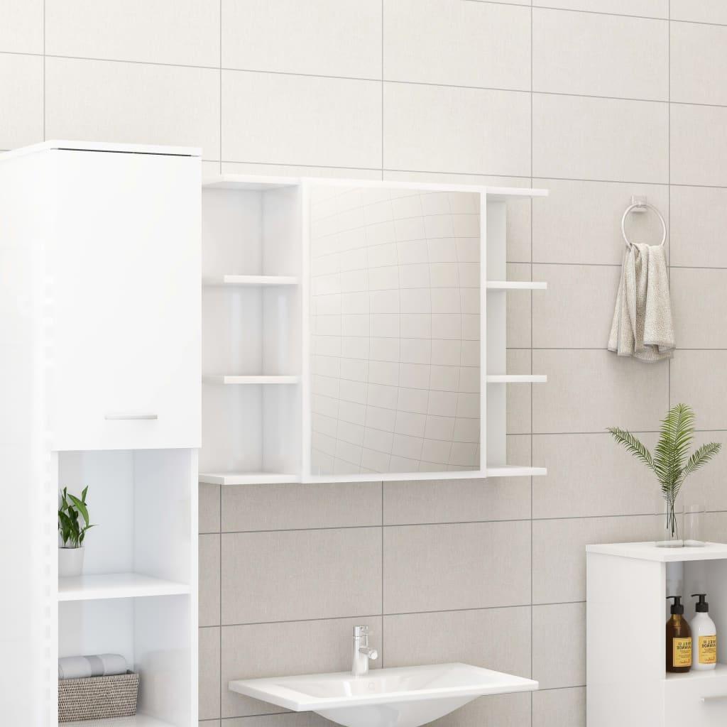 vidaXL Skrinka so zrkadlom, lesklá biela 80x20,5x64 cm, drevotrieska