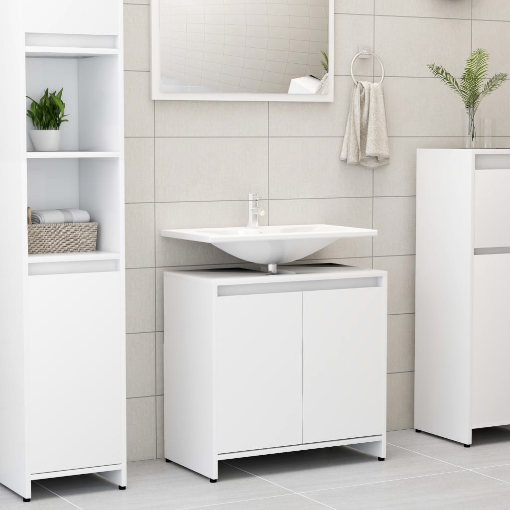 vidaXL Skrinka do kúpeľne, biela 60x33x58 cm, drevotrieska