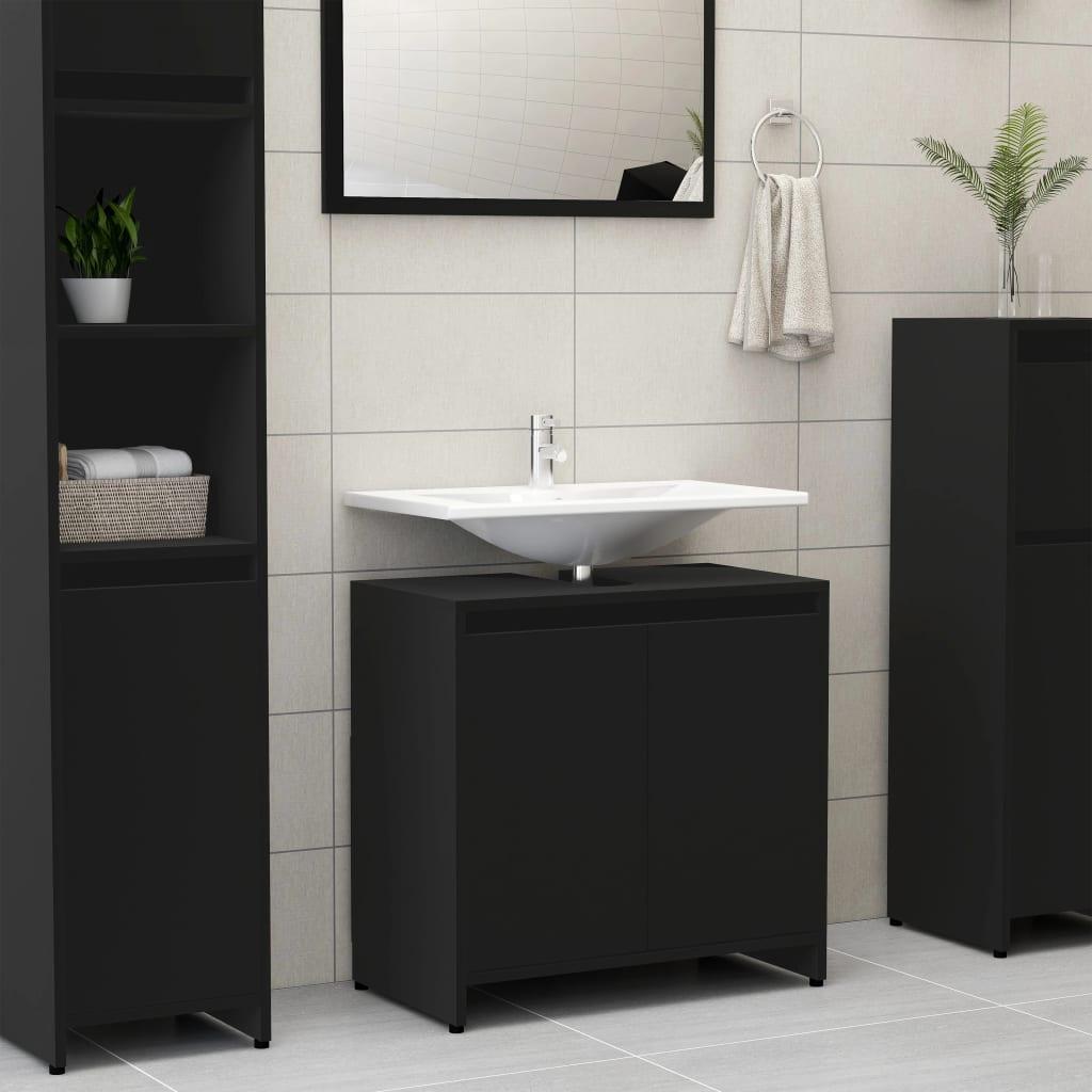 vidaXL Skrinka do kúpeľne, čierna 60x33x58 cm, drevotrieska