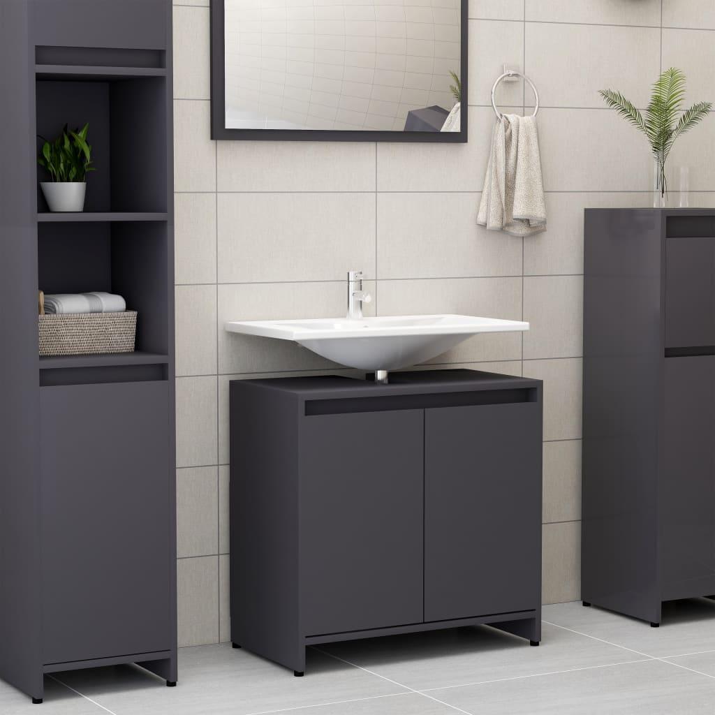 vidaXL Skrinka do kúpeľne, sivá 60x33x58 cm, drevotrieska