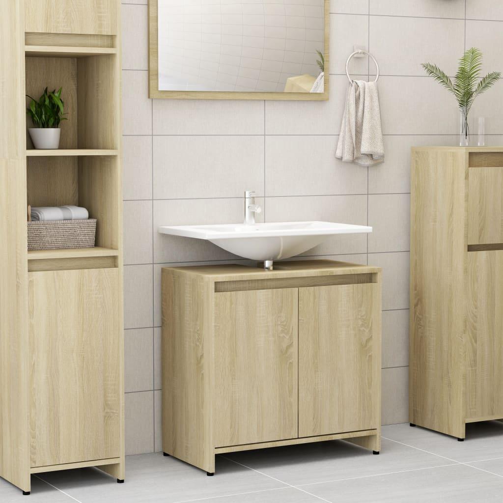 vidaXL Skrinka do kúpeľne, dub sonoma 60x33x58 cm, drevotrieska